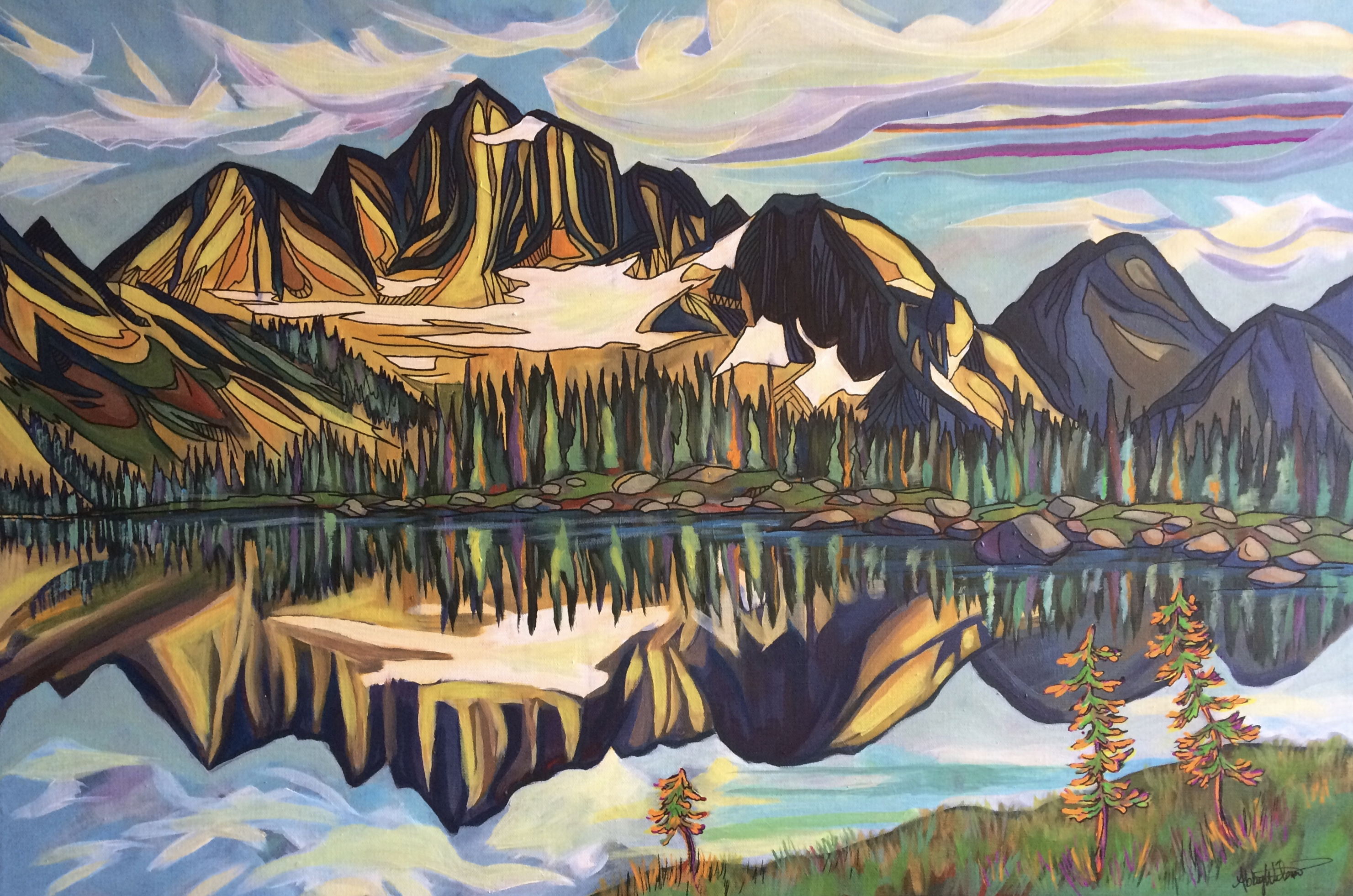 Acrylic painting of Drinnon Pass, Valhalla Provincial Park